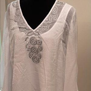 Alfani Women's Shimmer White Tunic